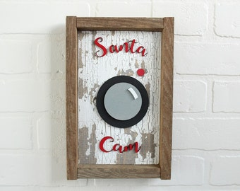 Farmhouse Christmas | Santa Cam Sign | Rustic Christmas Sign | Santa Cam | Tobacco Stick Frame