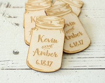 Mason Jar Wedding Favors | Engraved Mason Jars | Save The Date Mason Jars