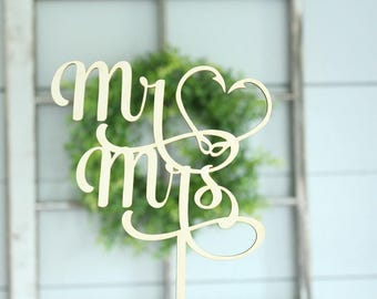 Mr and Mrs Fish Hook Cake Topper | Fish Hook Heart Cake Topper | Free Shipping