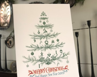 Merry Christmas and Happy New Year Card | Greeting Card | Simple Christmas Card