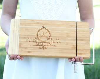 Bamboo Cheese Cutter Board Monogram Bamboo Cutting Board Housewarming Gift Mothers Day Gift Wedding Gift Cutting Board