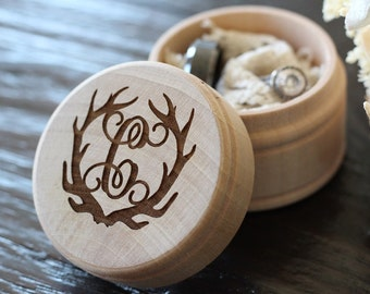 Antler Ring Box | Monogram Ring Box | Rustic Country Wedding Ring Box | Photo Prop Ring Box | Free Shipping