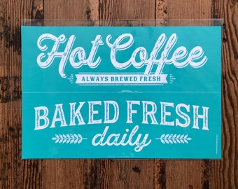 Chalk Couture Hot Coffee Transfer | Chalk Couture Baked Fresh | Silk Screen Transfers | Sign Making Supplies | Chalk Transfer| Sign Stencil