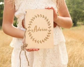 Advice Notebook | Bridal Shower Gift | Rustic Advice Book | Wood Advice Book | Advice For The Couple | Baby Shower Gift