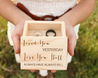 Engraved Ring Box | Rustic Wood Ring Box | Ring Bearer Box | Ring Keepsake Box | Rustic Wedding Ring Box | Free Shipping