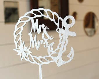 Nautical Wedding Cake Topper   Mr and Mrs Anchor Cake Topper   Wedding Cake Topper   Free Shipping
