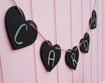 Chalkboard Banner | Chalkboard Wedding | Chalkboard Decor | Chalkboard Heart Banner | Reusable Chalkboard Banner | Valentines Day Photo Prop