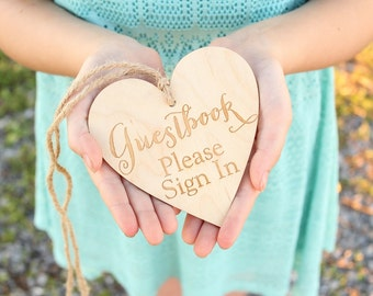 Guestbook Please Sign In Heart | Guestbook Sign | Please Sign In Sign | Rustic Wedding Guestbook
