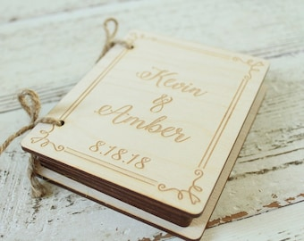 Book Ring Holder | Ring Bearer Pillow Alternative | Wedding Ring Book | Engraved Wood Ring Box Book | Free Shipping