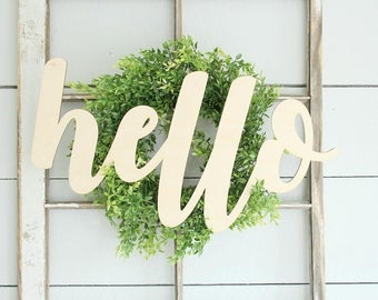 Hello Sign | Entryway Wall Sign | Farmhouse Decor | Gallery Wall Sign