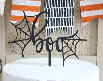 boo Cake Topper | Halloween Cake Topper | Halloween Party Decor | Spider Web | Free Shipping