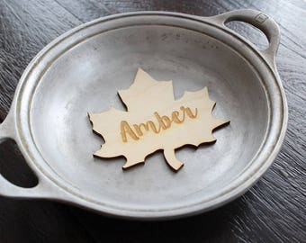 Leaf Placecards | Wood Place Cards | Thanksgiving Table Setting | Leaf Name Cards | Leaf Shapes | Thanksgiving Decor
