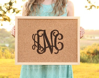 Monogrammed Cork Board Sign | Office Wall Gallery Decor | Dorm Room Decor | Message Board | Teacher Gift | Tack Board