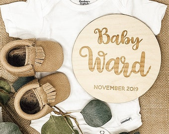 Birth Announcement Photo Prop | Woodland Nursery | Baby Name Sign | Engraved Name Sign