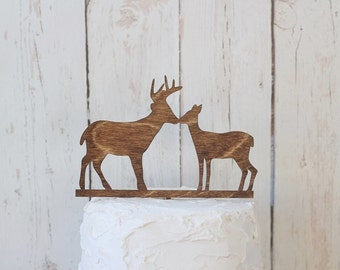 Kissing Buck and Doe Wedding Cake Topper | Rustic Wedding Cake Topper | Wood Cake Topper | Free Shipping