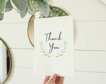 Thank You Card | Watercolor Greenery Card | Wedding Card |  | Greeting Card | Graduation Card