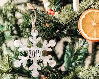 Tin Christmas Ornaments | Shatterproof Ornament | Farmhouse Style | Farmhouse Ornament | 2019 Snowflake Ornament