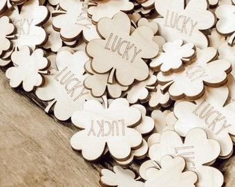 57 Mini Shamrocks   St Patricks Day Confetti   Wood Hearts   Wood Confetti   Mini Wood Shamrocks  St Patricks Decor   Lucky Shamrock