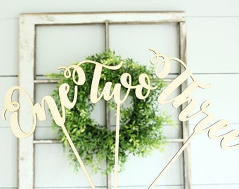 Word Table Numbers | Wedding Centerpieces | Wedding Table Numbers | Wedding Centerpiece Table Numbers