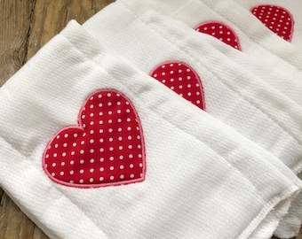Valentines Burp Cloth | Heart Burp Cloth | Burp Cloth