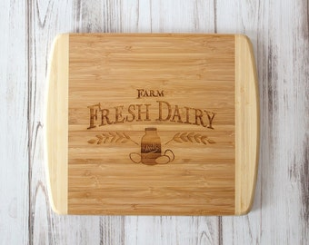 Farmhouse Kitchen Cutting Board | Farm Fresh Dairy Sign | Christmas Gift | Chief Gift | Bamboo Cutting Board