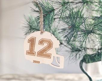 Football Ornament | Football Helmet Ornament | Football Player Gift | Stocking Stuffer | 2019 Ornament