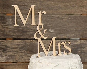 Mr & Mrs Wedding Cake Topper | Rustic Wedding Cake Topper | Wood Cake Topper | Free Shipping