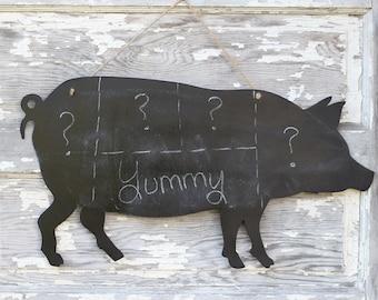 Pig Chalkboard Sign | Hog Sign | Country Kitchen Chalkboard | Menu Chalkboard | Country Wedding Menu Sign | Bridal Shower BBQ