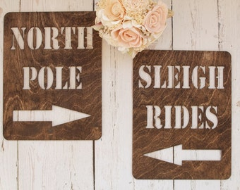 North Pole Sign | Sleigh Rides Sign | Christmas Signs | Rustic Holiday Signs