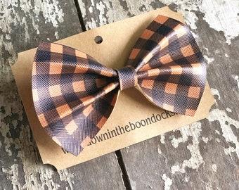 Orange Buffalo Plaid Hair Bow | Stocking Stuffer | Halloween Hair Bow | Orange and Black Plaid Hair Clip | Fall Hair Clip