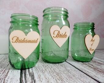 Rustic Wedding   Bride Heart   Groom Heart   Bridal Party Drink Tags   Sweetheart Table   Flower Girl   Bouquet Holders