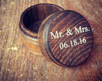 Mr and Mrs Rustic Ring Box | Ring Bearer Box | Alternative Keepsake Ring Box | Dark Walnut Rustic Wedding Ring Box | Free Shipping