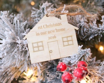 1st Christmas In Our New Home | House Ornament | Farmhouse Christmas | Rustic Christmas Tree Ornament 2019