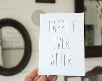 Happily Ever After Card | Simple Wedding Card | Congratulations Wedding Card | Greeting Card