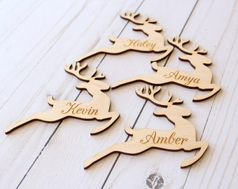 Reindeer Placecards | Wood Place Cards | Christmas Table Setting | Reindeer Name Cards | Reindeer Christmas Decor | Farmhouse Christmas