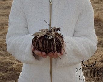Pumpkin Ring Pillow | Grapevine Pumpkin Wedding Ring Holder | Ring Bearer Pillow | Free Shipping
