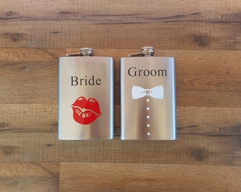 Bride and Groom Whiskey Flasks | Metal Flask | Bride Flask | Groom Flask | Bridal Party Drinkware