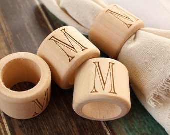 Monogrammed Napkin Rings | Wood Napkin Rings | Engraved Napkin Rings | Rustic Kitchen Table Decor | Farmhouse Style