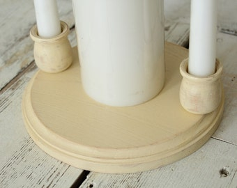 Unity Candle Holder | Rustic Wedding Candle Holder | Round Unity Candle Holder Set