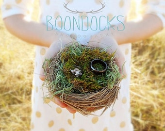 Bird Nest Ring Pillow | Ring Bearer Pillow Alternative | Wedding Ring Holder | Bird Nest Moss Wedding Decor