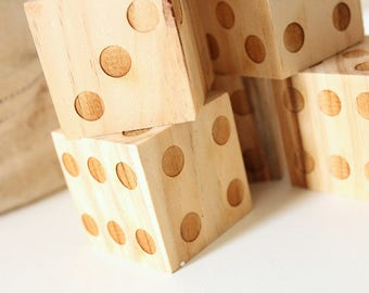 Wood Dice Set | Wedding Games | Game Dice Set | Engraved Wood Dice