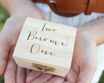 Two Become One Ring Box | Rustic Wedding Ring Box | Engraved Ring Box | Free Shipping
