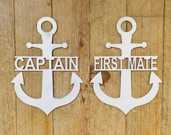 Captain and First Mate Chair Sign Set | Anchor Chair Signs | Wedding Photo Prop Signs | Captain Sign | First Mate Sign