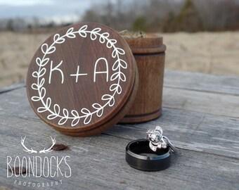 Rustic Wood Ring Box | Rustic Wedding Ring Bearer Box | Keepsake Ring Box | Laurel Wreath Ring Box | Free Shipping
