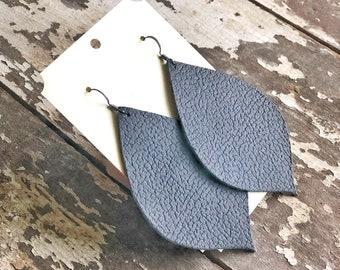 Black Leather Earrings | Biker Earrings | Leather Drop Leaf Earrings | BOHO Earrings | Country Western Earrings