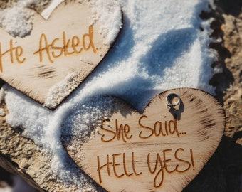 He Asked She Said Hell Yes Heart Signs Rustic Engagement Photo Prop Engraved Rustic Wood Wedding Signs