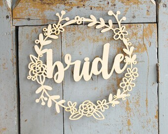 Bride and Groom Wreath Chair Signs | Wedding Chair Signs | Wood Chair Signs