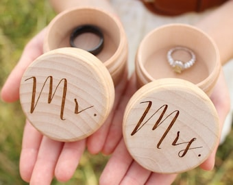 Mr and Mrs Ring Box Set | Keepsake Ring Box | Engraved Rustic Wedding Ring Box | Free Shipping