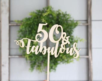 50 and fabulous Cake Topper | Over The Hill Cake Topper | Free Shipping