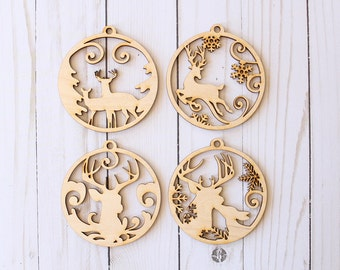 Stag Ornament | Buck and Doe Ornament | Reindeer Ornament | Country Christmas Ornament Collection | Christmas Ornaments
